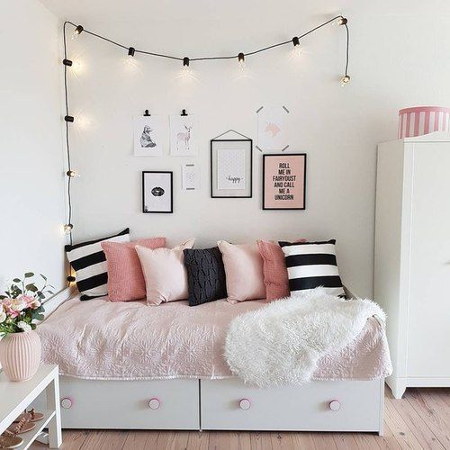 Pink, Black And White Bedroom. Love The String Lights Above The Bed!