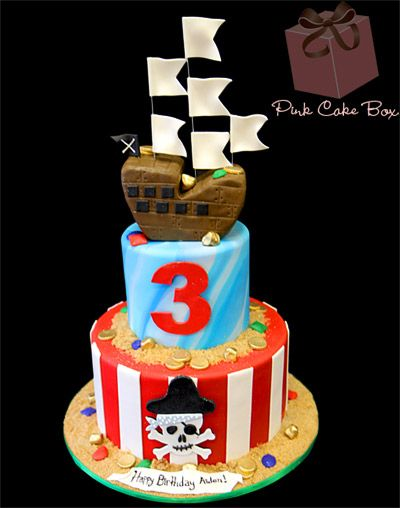 Pirate Ship Birthday Cake by Pink Cake Box in Denville, NJ.  More photos and videos at http://blog.pinkcakebox.com/pirate-ship-birthday-cake-2012-08-01.htm
