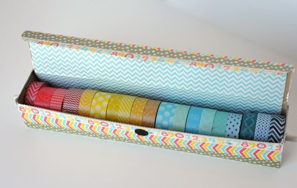 DIY washi tape storage tutorial (using an aluminum foil box and wooden dowel)