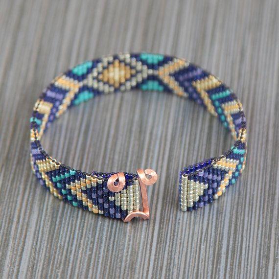 Trésors enfouis perle Loom Bracelet bohémien Boho par PuebloAndCo
