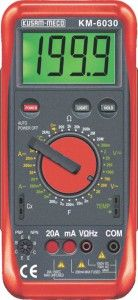 KM 6030-DIGIT LARGE DISPLAY DIGITAL MULTIMETER WITH TERMINAL LOCKING SYSTEM-KUSAM MECO • Test lead jack mechanical protection function & full Range over-load protection function • Low power consumption CMOS double integration, A/D transform integrated circuit • Back light display • Auto Zero Calibration • Auto Polarity display • Low Battery & Over range indication. • Selected range displayed on LCD. • Instant continuity Buzzer. • Recessed safety designed Input jacks