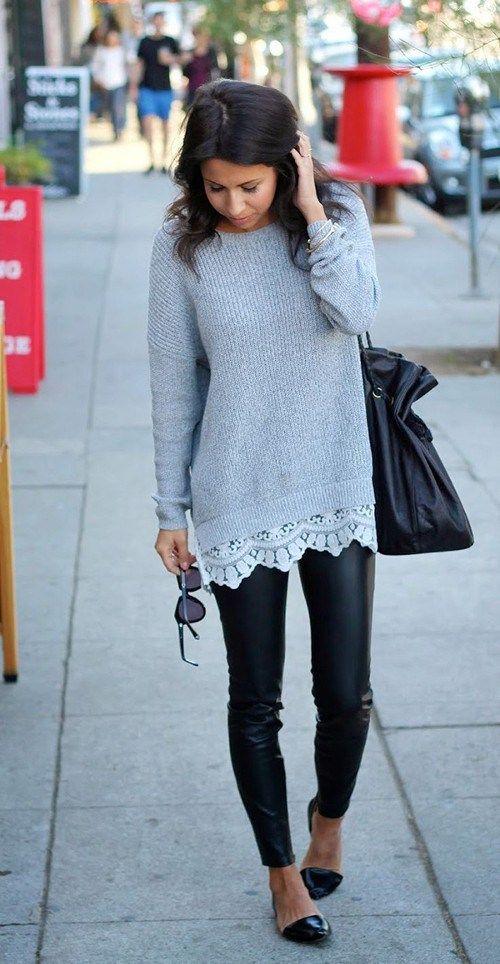 skórzane legginsy do swetra