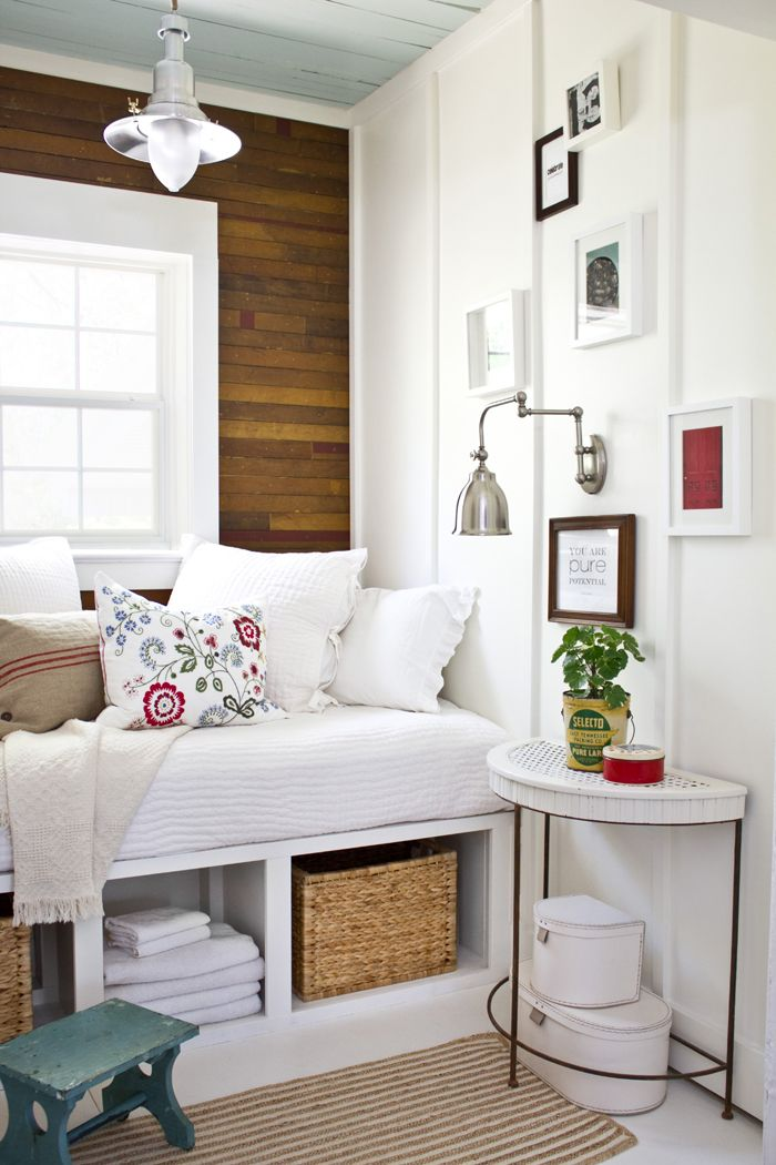 Storage daybed. Love the weathered wall behind it too. Plans by ana-white.com. Built by Layla from The Lettered Cottage and her husband Kevin.