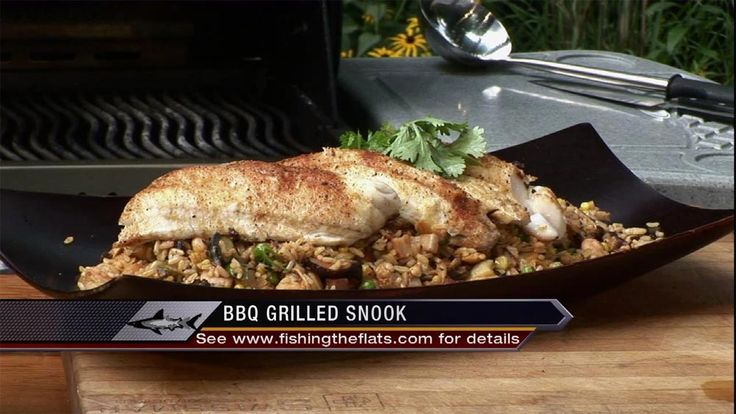 This grilled snook recipe and seafood fried rice is a nice colorful party dish. You can substitute snook with walleye if you don't have access to snook.
