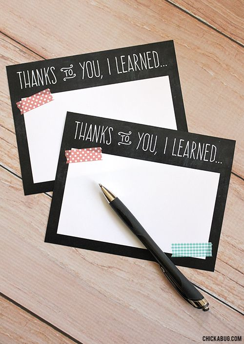 Free Printable Teacher Appreciation Notes by Chickabug