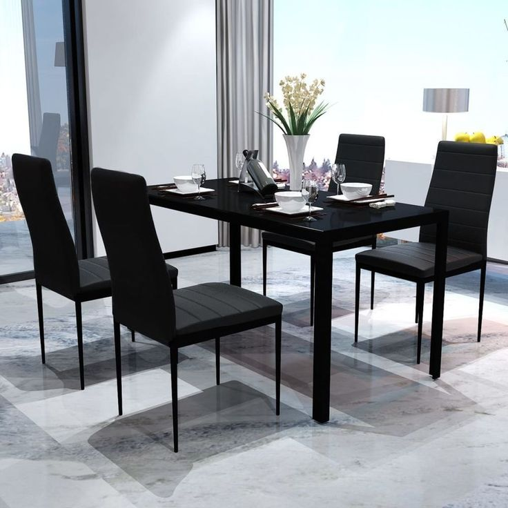 Kitchen Room Dining Table Set Modern Furniture Black With Chairs 5 Piece Home