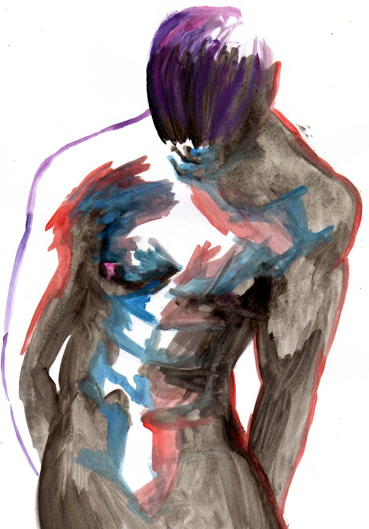 Il suo corpo Acquarelli e acrilico nero su A4