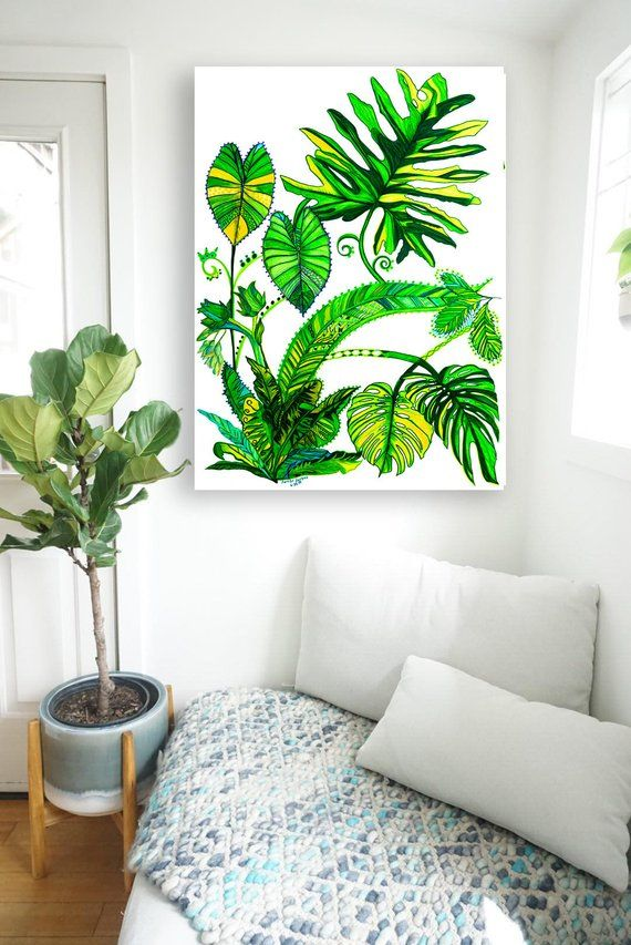Miraculous Plant Painting Unframed Canvas Print Green Tropical Leaves Download Free Architecture Designs Embacsunscenecom