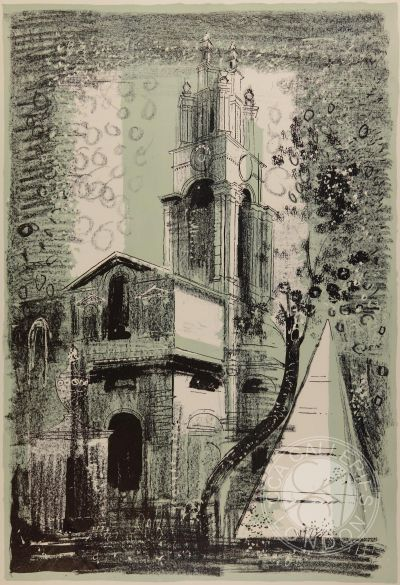 St Anne's, Limehouse Lithograph by John Piper