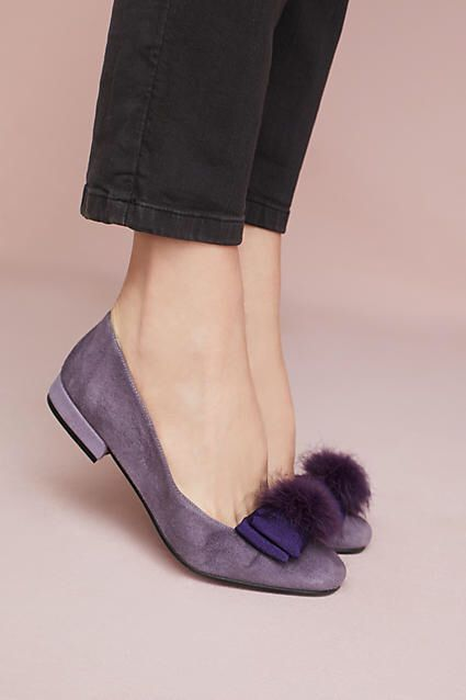 """Anthropologie """"Bisue"""" Ballerinas"""" lilac-suede ballet flats embellished with bows and faux-fur pom poms 