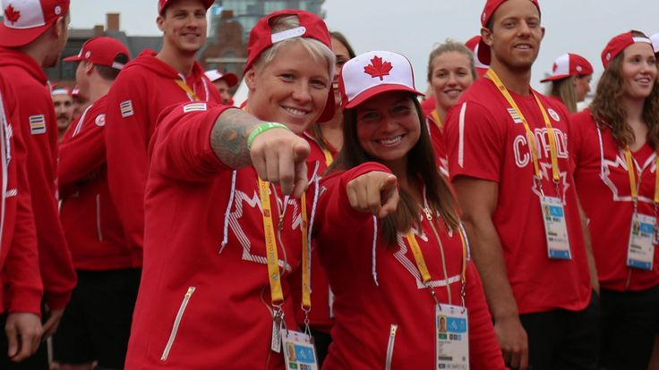 Women's rugby stars Jennifer Kish and Ashley Steacy - who have already qualified for Rio 2016 - at the athletes' village opening for Toronto 2015 Pan American Games (Photo: Alexandra Fernando).