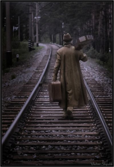 Musician on the tracks.