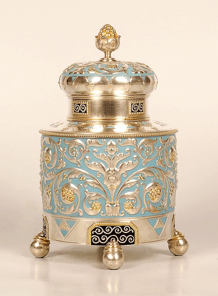 Faberge silver, parcel-gilt, and enamel tea caddy, Moscow, 1908-1917