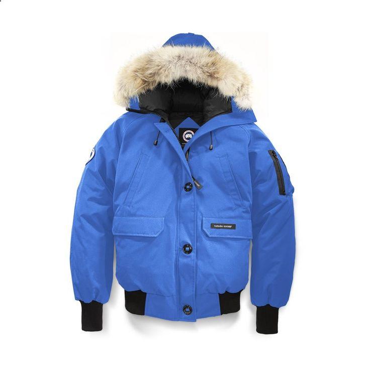 Women Canada Goose Blue PBI Chilliwack Bomber Hooded Jacket