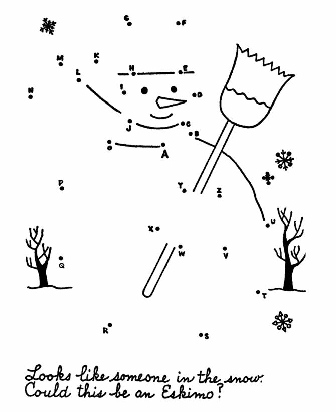 Dot-to-Dot Activity Page | Snowman