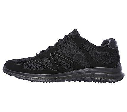 Skechers Men's Satisfaction Flash Point Memory Foam Lace Up Jogger Shoes (Black/Black)