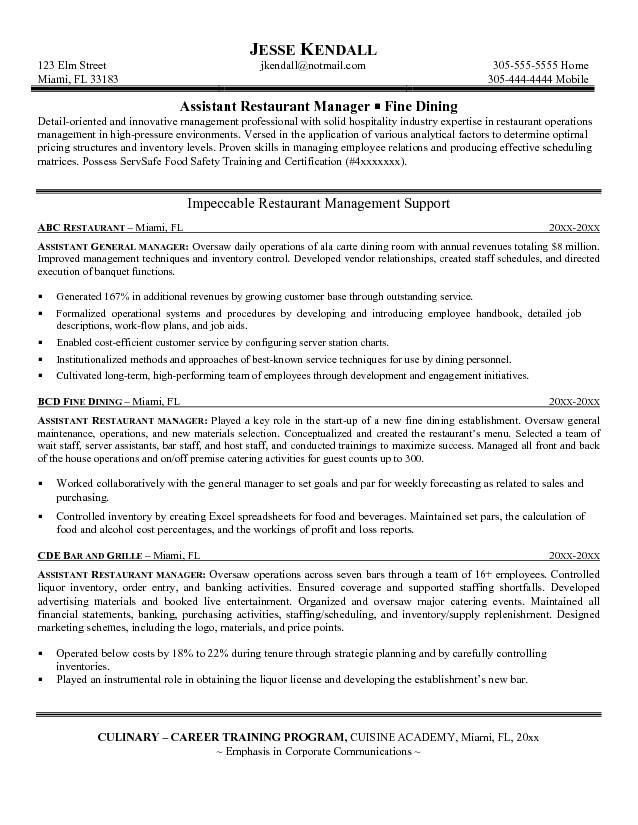 restaurant manager resume - Assistant Operation Manager Resume