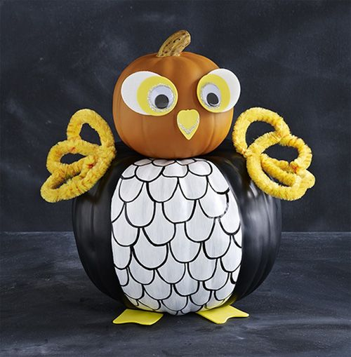 No-Carve Halloween Owl Felt Pumpkin