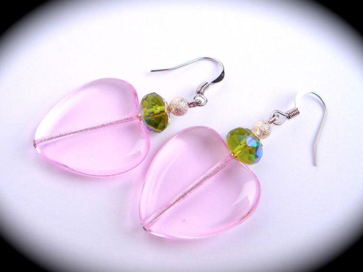 Vintage Czech Glass Silver Earrings LARGE HEART PINK GREEN Faceted Hook Drop #Unbranded #DropDangle