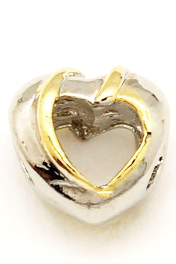 Два цвета покрытия в форме сердца бусы. подходит для Пандора браслеты, лучший подарок к празднику