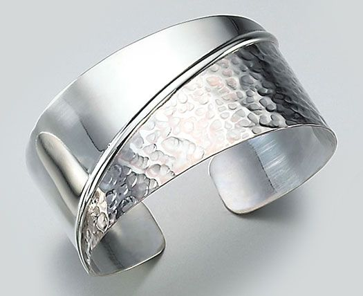 Home Material Silver Cuff Bracelet Half Hammered | Online Jewelry