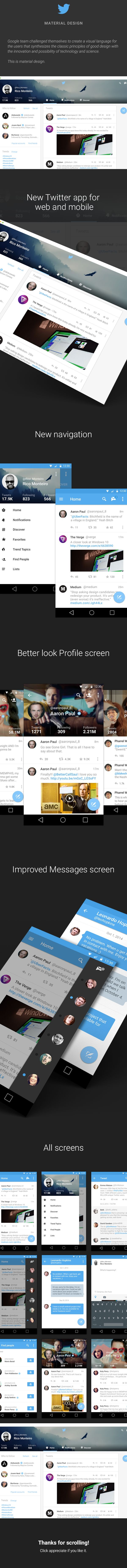 Twitter Material Design on Behance