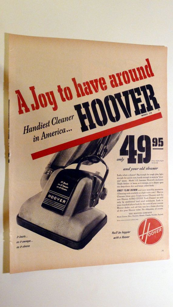 1950 LIFE Magazine Hoover Vacuum Cleaner Ad  by AnEarnestOffering, $8.00