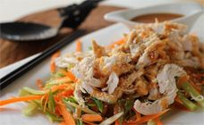 Bang bang chicken is a beautiful crisp salad with chicken and a more-ish peanut sauce to go with it.