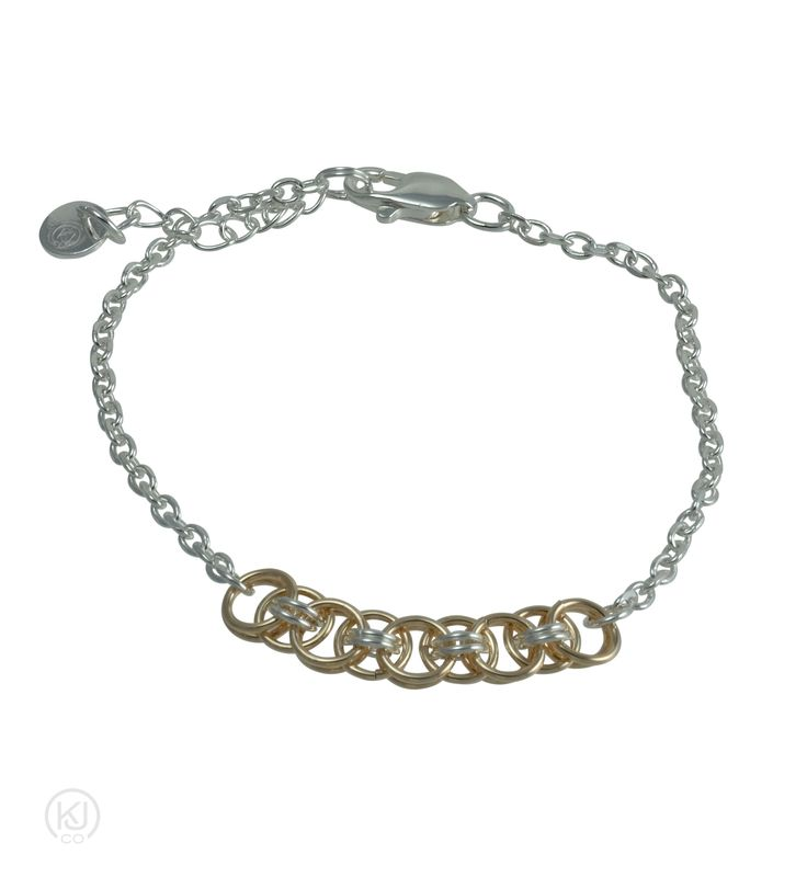 Aylin – Helm Weave Lite Silver & Gold Combination Bracelet – Considered to be the younger sibling of the Aylin – Helm Weave bracelet, this bracelet has a more delicate and refined appeal in a sterling silver and 14kt Gold Filled combination. This bracelet had a distinguished and subtle look and is the perfect piece to add that touch of elegance and sophistication to any outfit.
