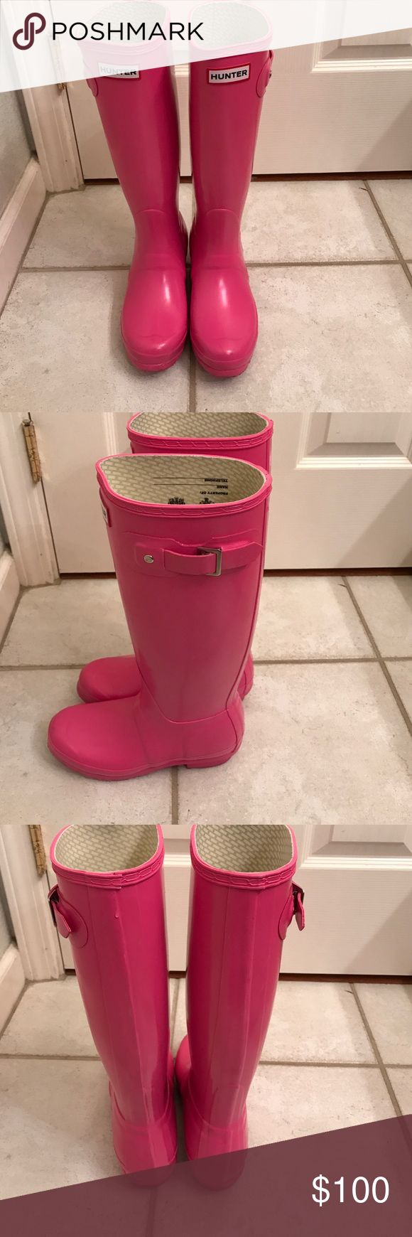 Hunter Rain Boots Barbie Pink Tall Hunter Rain Boots. Size 5. Only worn a few times. Good Condition. The only sign of wear is on the sole as shown in the picture. Hunter Boots Shoes Winter & Rain Boots