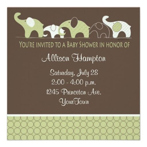 Playful Elephant Baby Shower Invitations