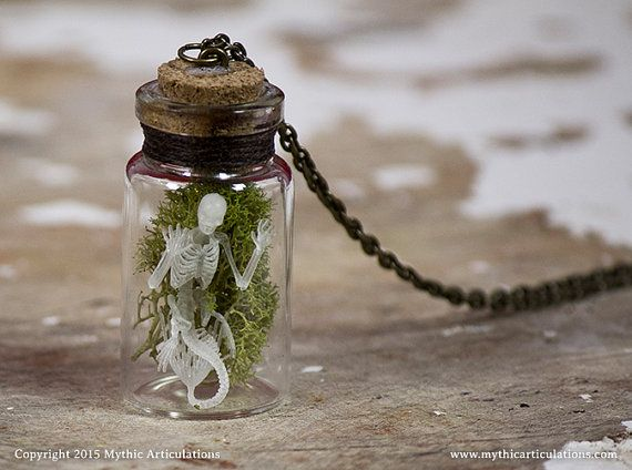 Mermaid Skeleton in a Bottle Pendant with by MythicArticulations
