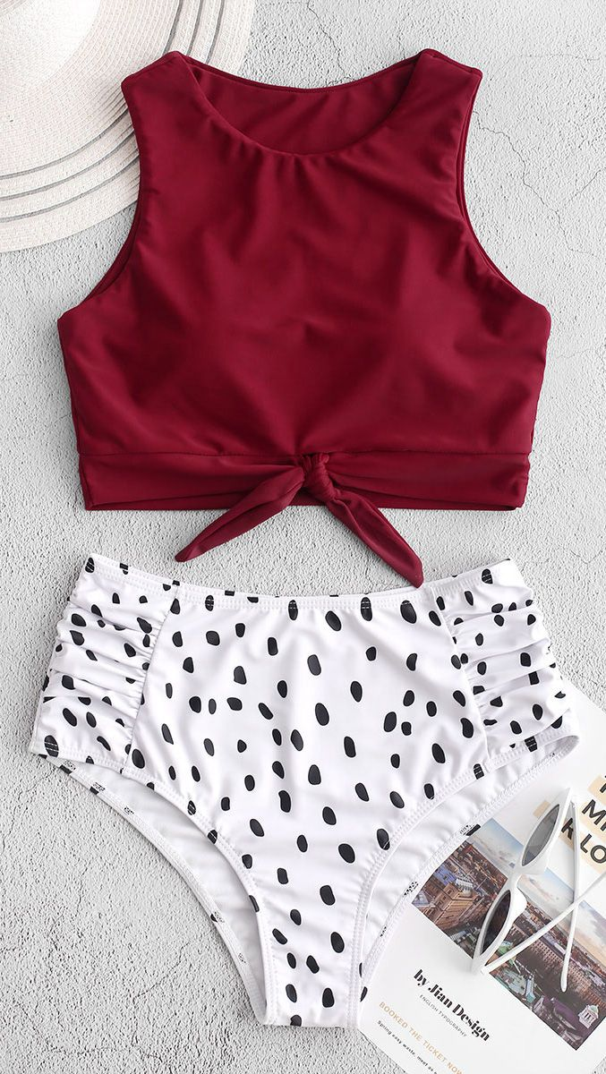 Dalmatian Print Knot Ruched Tankini Swimsuit