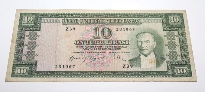 TURKEY 5. EMISSION 5 ISSUE 10 LIRA