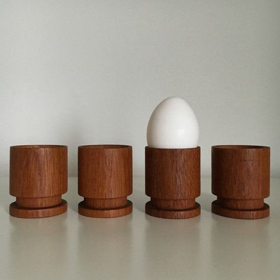 Vintage Turned Teak Egg Cups Midcentury Danish Modern