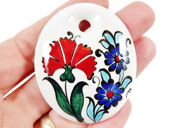 OOAK Large Hand painted Turkish Cini Ceramic by LylaSupplies, $10.00