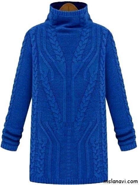 Вязаный спицами пуловер с косами СХЕМА / PATTERN http://mslanavi.com/2014/10/vyazanyj-spicami-pulover-s-kosami/