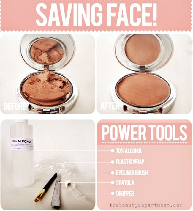 How to fix broken makeup - money saving tip!  http://thebeautydepartment.com/2012/06/d-i-y-makeup-fixer-upper/