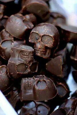 Chocolate skulls for Halloween.nice Halloween treat