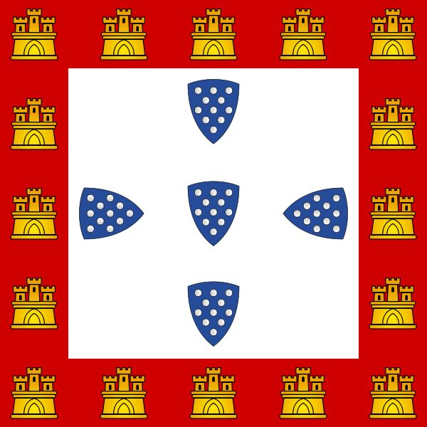"Portuguese fourth flag was introduced by our fifth king Afonso III in 1248. This flag was also used by the next kings until the end of the Burgundy dinasty until the ninth king in 1383. This flag introduced the 16 castles bordering the five ""Quinas"". Contrary to what is common believe, this has nothing to do with castles conquered to the Moors in the Algarve. The reason Afonso III introduced the castels was because his mother was Castilian."