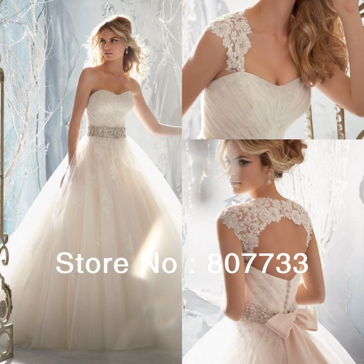 JMW091 Stylish with detachable straps beaded A-Line bridal gowns lace wedding dress 2013 $175.00