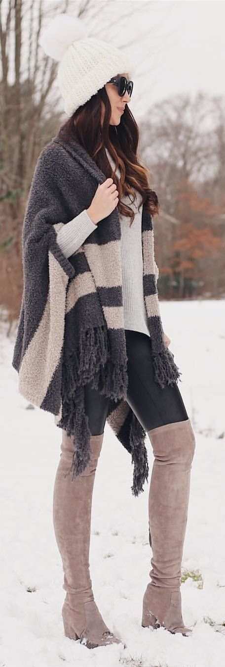 #winter #outfits black and gray coat with brown thigh-high boots and white bobble hat outfit