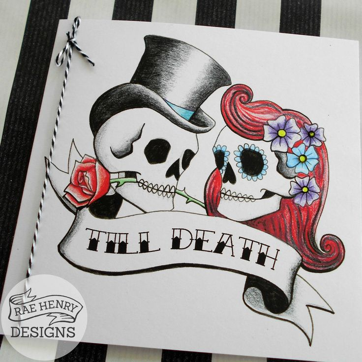 10 Tattoo Rockabilly Wedding Invitations Skulls Personalised Handmade Goth  Punk