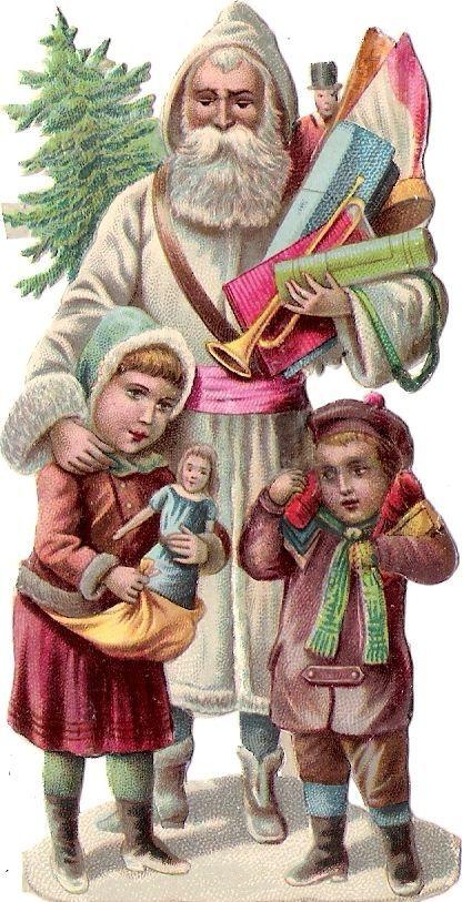 Oblaten Glanzbild scrap die cut chromo Nikolaus pere noel XMAS father christmas