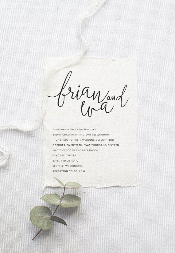 minimalist monochrome wedding invitation