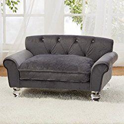 Enchanted Home Pet La Joie Velvet Dog Sofa Bed, Grey