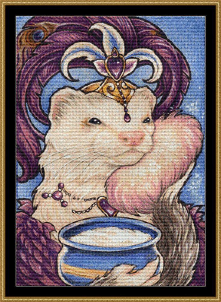 "Ferret beauty cross stitch pattern - modern counted cross stitch - Licensed Natalie Ewert - ""Showgirl Ferret"" by UnconventionalX on Etsy"