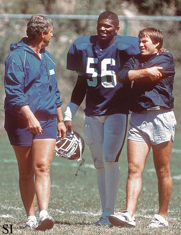 Bill Parcells, Lawrence Taylor, Bill Belichick, 1986.