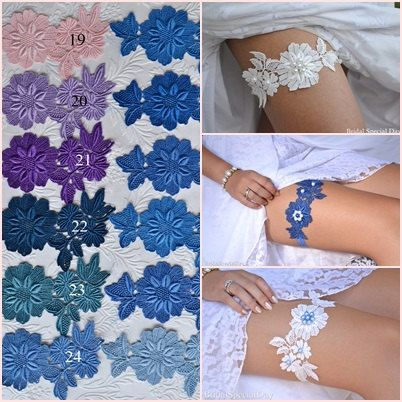 Choose Your Color - Lace Wedding Garter White Bridal Garter With Pearls - Handmade Wedding Garter Set Bridal Accessories