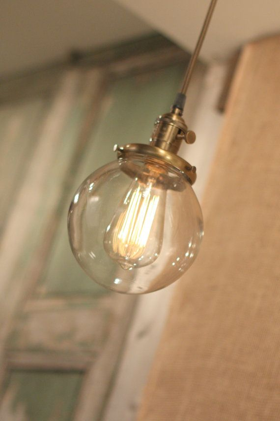 """Pendant Light With 6"""" Glass Globe Shade and Exposed Socket"""